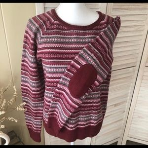 Vintage Fair Isle Sweater Elbow Patch Red Pink L